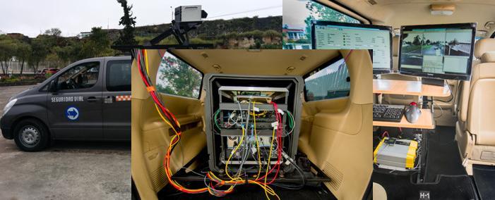 Vista interior del equipo de mapeo móvil